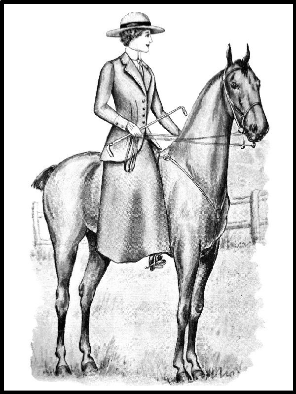 RIDING OUTFIT: Pattern 3566: Lady's Riding Coat & Pattern 2810: Lady's & Girl's Divided Riding Skirt