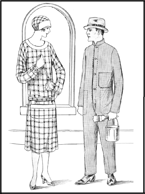 WORKING OVERALLS: Patterns 5125, 5159 & 5183 for Men & Women (1926)
